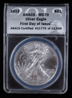 2013 American Silver Eagle $1 One Dollar Coin - First Day of Issue, Black Eagle Label (ANACS MS70) at PristineAuction.com