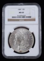 1887 Morgan Silver Dollar (NGC MS65) at PristineAuction.com