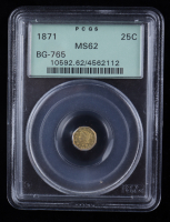 1871 25c California Fractional Octagonal Liberty Gold Coin (PCGS MS62) OGH at PristineAuction.com