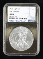 2020 American Silver Eagle $1 One Dollar Coin - First Releases, Gold Frame Holder (NGC MS70) at PristineAuction.com