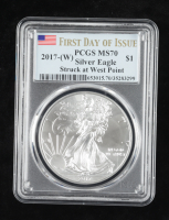 2017-(W) American Silver Eagle $1 One Dollar Coin Silver Eagle - First Day of Issue, Struck at West Point Mint (PCGS MS70) at PristineAuction.com
