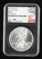 2020 American Silver Eagle $1 One Dollar Coin - First Day of Issue, Black Retro Holder - Mercanti Signed Label (NGC MS70) at PristineAuction.com