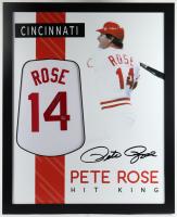 Pete Rose Signed 35x43 Custom Framed Jersey (Rose Hologram) at PristineAuction.com