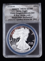 2018-W American Silver Eagle $1 One Dollar Coin - First Strike, From the Congratulations Set (ANACS PR70 DCAM) at PristineAuction.com