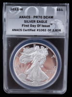 2011-W American Silver Eagle $1 One Dollar Coin - First Day of Issue, Black Eagle Label (ANACS PR70 DCAM) at PristineAuction.com