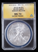 2015-W American Silver Eagle $1 One Dollar Coin - Burnished, Denver Release (ANACS MS70) at PristineAuction.com