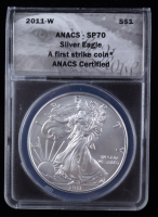 2011-W American Silver Eagle $1 One Dollar Coin - Burnished, First Strike, Black Eagle Label (ANACS MS70) at PristineAuction.com