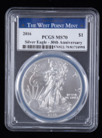 2016 American Silver Eagle $1 One Dollar Coin - 30th Anniversary, Struck at West Point Mint Label (PCGS MS70) at PristineAuction.com