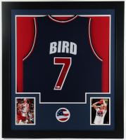 Larry Bird Signed 31x35 Custom Framed Jersey Display (Beckett Hologram) at PristineAuction.com