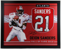 Deion Sanders Signed 35x43 Custom Framed Jersey (Beckett Hologram) (See Description) at PristineAuction.com