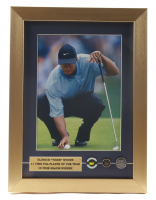 Tiger Woods 12x16 Custom Framed Photo Display with (3) Win Pins Featuring The 2005 Masters, British Open & 2010 U.S. Open at Pebble Beach at PristineAuction.com