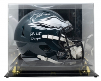 """Jason Kelce Signed Eagles Full-Size Speed Helmet with Display Case Inscribed """"SB LII Champs"""" (JSA COA) at PristineAuction.com"""