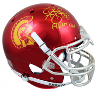 """Troy Polamalu Signed USC Trojans Full-Size Authentic On-Field Chrome Helmet Inscribed """"Fight On"""" (Beckett Hologram) at PristineAuction.com"""