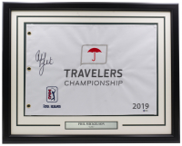 Phil Mickelson Signed 2019 Travelers Championship 20x30 Custom Framed Flag Display (Beckett COA) at PristineAuction.com