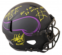 """Randy Moss, Cris Carter & Adrian Peterson Signed Vikings Full-Size Authentic On-Field Eclipse Alternate Speed Helmet Inscribed """"All I Do Is Catch TD's"""", """"Straight Cash Homie"""" & """"All Day"""" (Beckett COA) at PristineAuction.com"""
