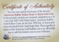 2021-F American Buffalo Indian Head 1 oz .9999 Fine 24 KT Gold Plated Encapsulated Replica Coin at PristineAuction.com