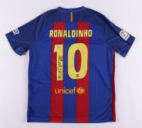"Ronaldinho Signed FC Barcelona Jersey Inscribed ""R10"" (Beckett COA) (See Description) at PristineAuction.com"