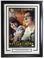 "Emma Stone, Billie Jean King & Eric Christian Olsen Signed ""Battle of The Sexes"" 11x17 Custom Framed Photo Display (JSA COA) at PristineAuction.com"