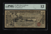 """1896 $1 One-Dollar """"Educational Series"""" Large-Size Silver Certificate (PMG 12) at PristineAuction.com"""