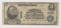 1902 $5 Five-Dollars U.S. National Currency Large-Size Bank Note - The Commercial National Bank of High Point, North Carolina at PristineAuction.com