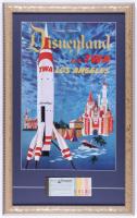 Vintage Disneyland Fly TWA Los Angeles 15x23 Custom Framed Print Display with Ticket Book at PristineAuction.com