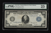 1914 $10 Ten-Dollars Blue Seal U.S. Large-Size Federal Reserve Note (PMG 25) at PristineAuction.com