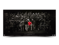 """Tiger Woods Signed Framed """"Moving Forward"""" 18x36 Photo (UDA Hologram) at PristineAuction.com"""