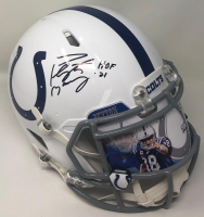 """Peyton Manning Signed Colts Full-Size Authentic On-Field Speed Helmet with Custom Visor Inscribed """"HOF 21"""" (Fanatics Hologram) at PristineAuction.com"""