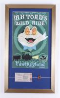 "Disneyland ""Fantasyland: Mr. Toad's Wild Ride"" 15x26 Custom Framed Print Display with Vintage Disneyland 'C' Mr. Toad Ticket & Mr. Toad Ride Pin at PristineAuction.com"
