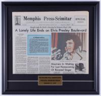 Elvis Presley 17x18 Custom Framed Vintage Original 1977 Full Memphis Press-Scimitar Newspaper Page Display (See Description) at PristineAuction.com