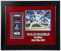 Cole Hamels Signed Cubs 19x23 Custom Framed 2015 Game Ticket Display (PSA Encapsulated) at PristineAuction.com