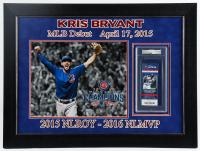 "Kris Bryant Signed Cubs 20x27 Custom Framed 2015 MLB Debut Game ticket Display Inscribed ""MLB Debut 4.17.15"" (PSA Encapsulated) at PristineAuction.com"