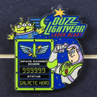 """Disneyland """"Buzz Lightyear Astro Blaster"""" 14x22 Custom Framed Print Display with Official Ride Pin at PristineAuction.com"""