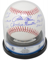 Pete Rose Signed OML Baseball with Display Case with Multiple Inscriptions (Beckett Encapsulated) at PristineAuction.com