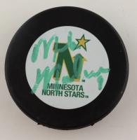 Mike Modano Signed Stars Logo Hockey Puck (Beckett Hologram) (See Description) at PristineAuction.com
