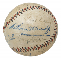 MLB Hall Of Famers & Stars (Circa 1930s) OAL Baseball Signed by (10) with Babe Ruth, Lou Gehrig, Joe Cronin, Red Ruffing, Heinie Manush with Display Case (JSA LOA) at PristineAuction.com