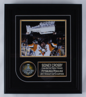 Sidney Crosby Penguins 17x19.5 Custom Framed 2017 Stanley Cup Champions Puck Display (FSM COA) at PristineAuction.com