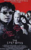 "Jason Patric & Kiefer Sutherland Signed ""The Lost Boys"" 11x17 Movie Poster Inscribed ""David"" (JSA COA) at PristineAuction.com"
