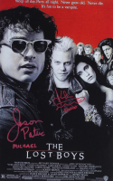 """Jason Patric & Kiefer Sutherland Signed """"The Lost Boys"""" 11x17 Movie Poster Inscribed """"David"""" & """"Michael"""" (JSA COA) at PristineAuction.com"""