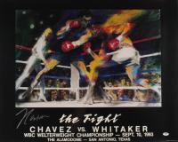 Julio Cesar Chavez Signed 25x31 Original LeRoy Neiman Promotional Fight Lithograph (PSA COA) (See Description) at PristineAuction.com