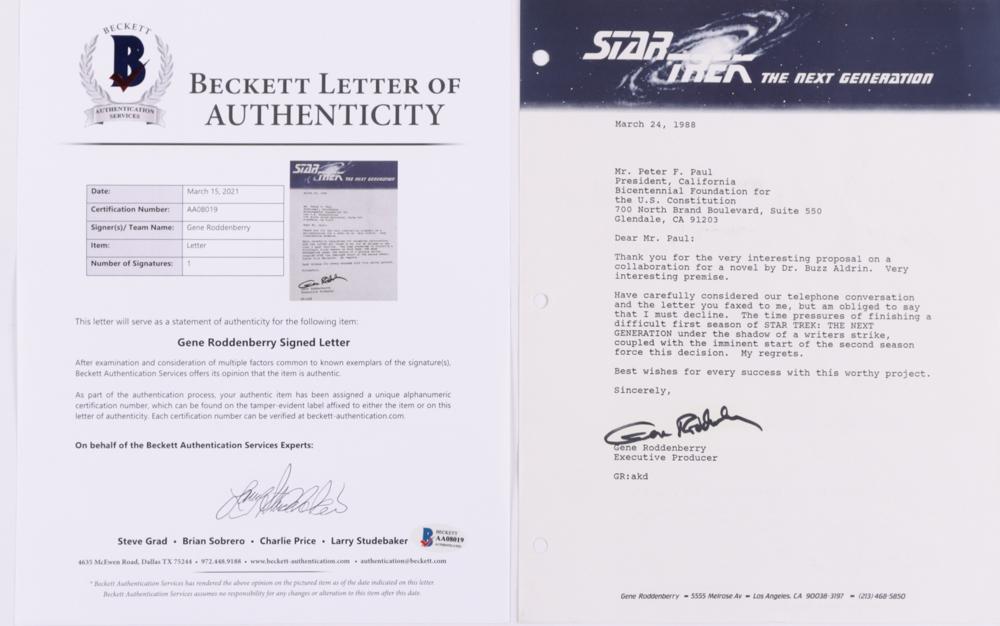 Gene Roddenberry Signed 8.5x11 Letter (Beckett LOA) at PristineAuction.com