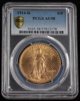 1914-D $20 Twenty-Dollar Saint-Gaudens Double Eagle Gold Coin (No Motto) (PCGS AU58) at PristineAuction.com