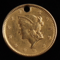 1850 $1 One Dollar Liberty Head Holed Gold Coin at PristineAuction.com