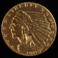 1909 $2.50 Indian Head Quarter Eagle Gold Coin at PristineAuction.com