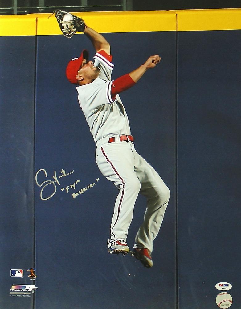 Shane Victorino Signed Phillies 16x20 Photo Inscribed Flyin Hawaiian PSA COA At