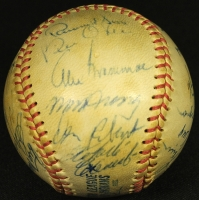 Vintage Baseball Signed by (24) with Roberto Clemente, Bill Mazeroski, Johnny Pesky, Maury Wills (JSA ALOA) at PristineAuction.com