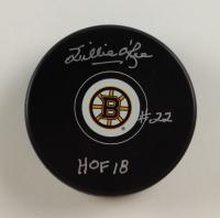 "Willie O'Ree Signed Bruins Logo Hockey Puck Inscribed ""HOF 18"" (COJO COA & Frozen Pond Hologram) at PristineAuction.com"