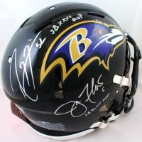 "Ray Lewis & Joe Flacco Signed Ravens Full-Size Authentic On-Field Speed Helmet Inscribed ""SB XXXV MVP"" & ""SB XLVII MVP"" (Beckett Hologram & JSA Hologram) at PristineAuction.com"