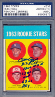 Pete Rose Signed 1963 Topps #537 Rookie Stars / Pedro Gonzalez RC / Ken McMullen RC / Al Weis RC / Pete Rose RC with Multiple Inscriptions (PSA Encapsulated) at PristineAuction.com