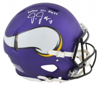 """Justin Jefferson Signed Vikings Full-Size Authentic On-Field Speed Helmet Inscribed """"Defend The North"""" (Beckett Hologram) at PristineAuction.com"""